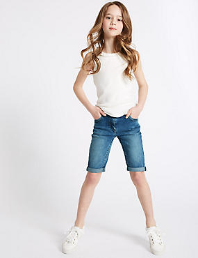 Cotton Denim Knee Length Shorts with Stretch (3-14 Years)