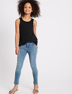 Cotton Embellished Jeans with Stretch (3-16 Years)