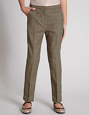 Adjustable Waist Checked Trousers (5-14 Years)