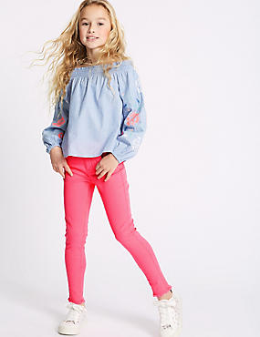 Bright Pink Cotton Rich Super Skinny Jeans (3-16 Years), BRIGHT PINK, catlanding