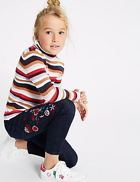 Embroidered Cotton Jean with Stretch (3-16 Years), DENIM, catlanding