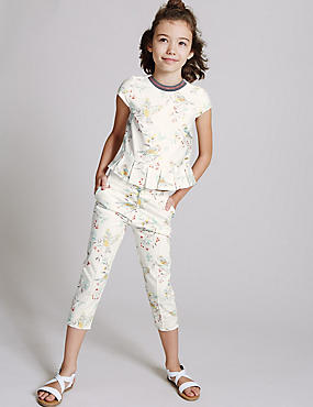 Printed Cotton Trousers with Stretch (3-14 Years)