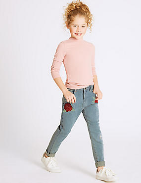 Cotton Embroidered Jeans with Stretch (3-14 Years), DENIM, catlanding
