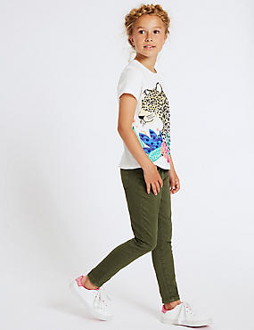 Cotton Rich Jeans (3-16 Years), KHAKI, catlanding