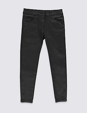 Wet Look Skinny Jeans with Adjustable Waist (5-14 Years)