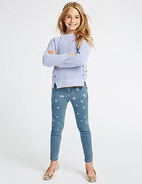Cotton Star Jeans with Stretch (3-16 Years), MED BLUE DENIM, catlanding