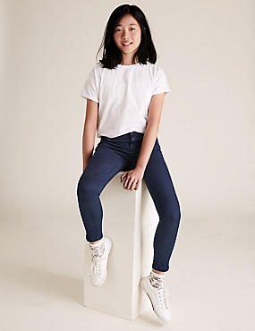 Cotton Rich Super Skinny Jeans (3-16 Years), DARK DENIM, catlanding