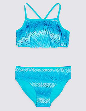 Ombre Laser Cut Bikini Set with Lycra® Xtra Life™ (5-16 Years), AQUA MIX, catlanding