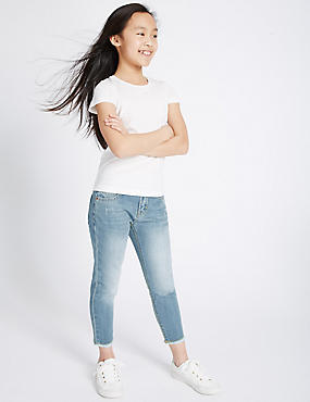 Relaxed Fit Raw Edge Jeans (3-14 Years)
