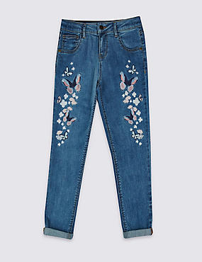 Cotton Butterfly Applique Jeans with Stretch (3-14 Years)