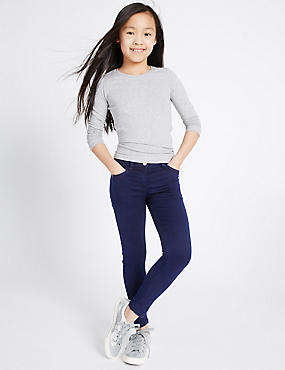 PLUS Cotton Rich Super Skinny Jeans (3-16 Years), MED BLUE DENIM, catlanding