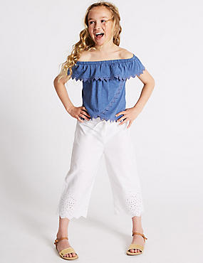 Pure Cotton Cropped Trousers (3-16 Years)