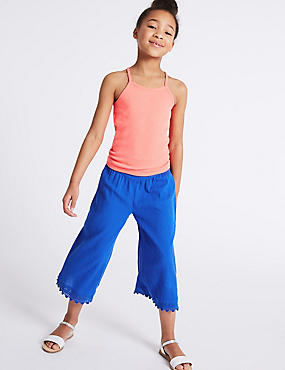 Pure Cotton Crinkle Trousers (3-16 Years)