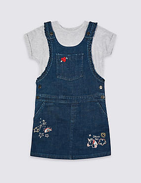 2 Piece Top & Pinny Outfit (3-16 Years), INDIGO, catlanding