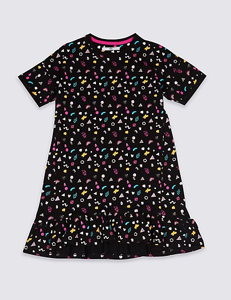 Printed Frill Hem Dress with Stretch (3-16 Years)