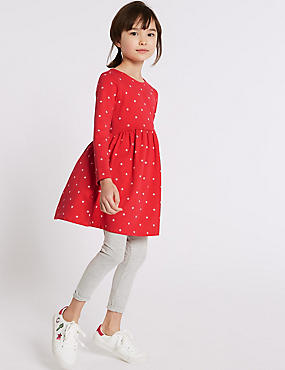 Cotton Dress with Stretch (3-16 Years), CERISE, catlanding