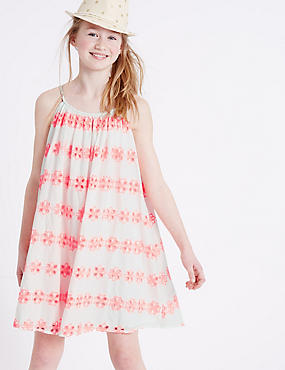 Pure Cotton Bordered Dress (3-14 Years)