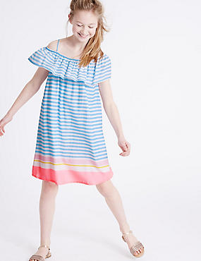Striped Frill Woven Dress (3-14 Years)