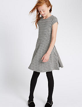 Dogtooth Textured Dress (5-14 Years)