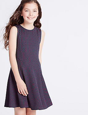 Textured Crew Neck Dress (3-14 Years)