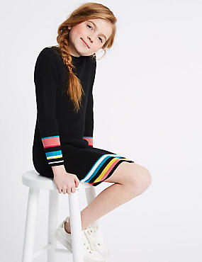 Striped Cuff Pure Cotton Dress (3-16 Years)