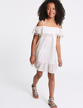 Pure Cotton Pom Pom Dress (3-16 Years)