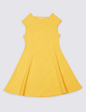 Textured Cotton Blend Dress (3-14 Years)