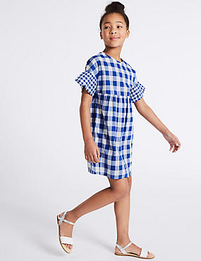 Gingham Pure Cotton Dress (3-16 Years), BLUE MIX, catlanding