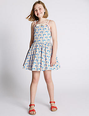 Pure Cotton Heart Print Prom Dress (5-14 Years)