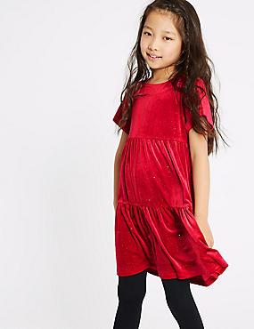 Velvet Shimmer Dress (3-16 Years), RED, catlanding