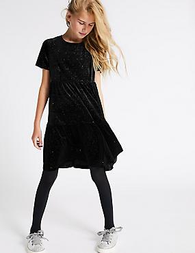 Velvet Shimmer Dress (3-16 Years), BLACK, catlanding