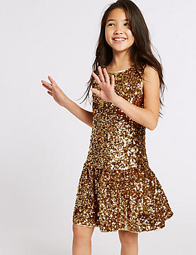 Sequin Dress (3-16 Years), GOLD, catlanding