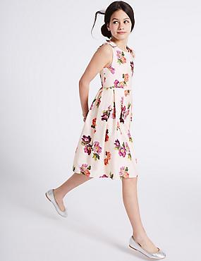 Floral Print Pure Cotton Dress (3-16 Years), CREAM, catlanding