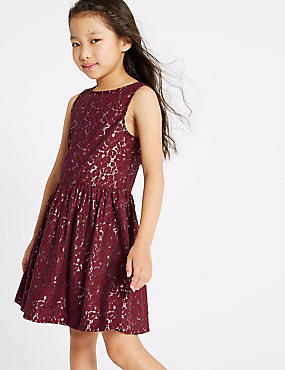 Cotton Rich Lace Dress (3-16 Years), BERRY, catlanding