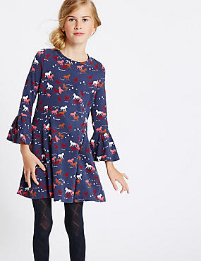 Cotton Dress with Stretch (3-14 Years)