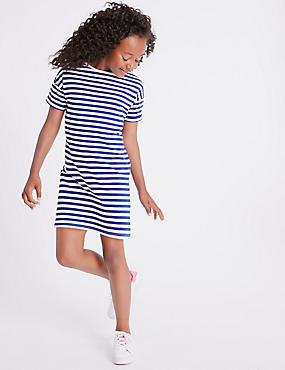 Striped T-Shirt Dress (3-16 Years), NAVY MIX, catlanding
