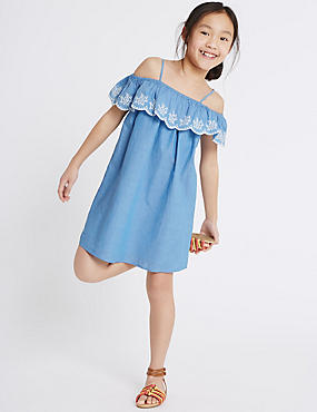 Pure Cotton Embroidered Dress (3-14 Years)