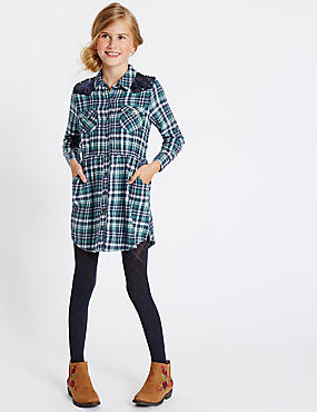 Pure Cotton Checked Shirt Dress (3-14 Years)
