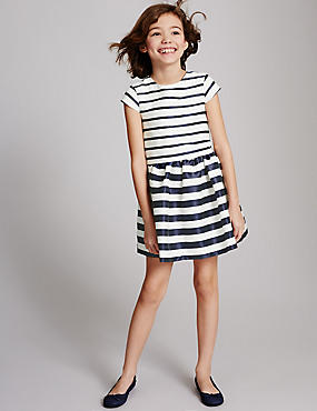 Striped A-Line Dress (3-14 Years)
