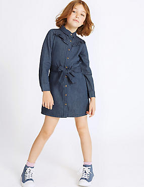 Denim Shirt Dress with Belt (3-14 Years)