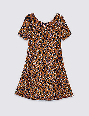 Cotton Dress with Stretch (3-16 Years), LIGHT TAN MIX, catlanding