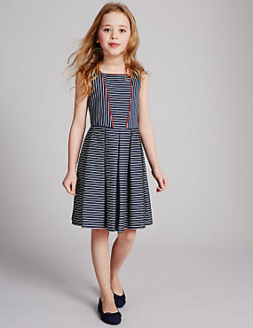 Cotton Textured Stripe Pleat Dress with Stretch (3-14 Years)