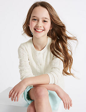 Pure Cotton Pointelle Cardigan (3-14 Years)