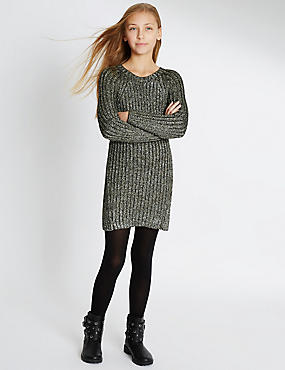Cotton Blend Metallic Jumper Dress (5-14 Years)