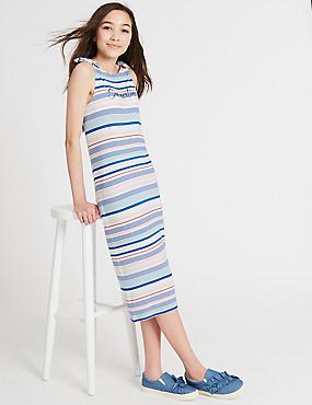 Striped Dress (3-16 Years), WHITE MIX, catlanding