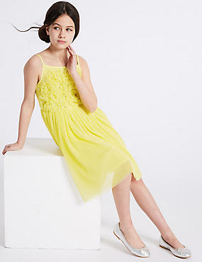 Floral Dress (3-16 Years), YELLOW, catlanding