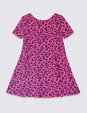 Cotton Dress with Stretch (3-16 Years), PINK MIX, catlanding
