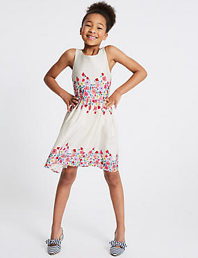 Floral Pure Cotton Prom Dress (3-16 Years), WHITE MIX, catlanding