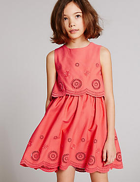 Pure Cotton Crew Neck Dress (3-14 Years)