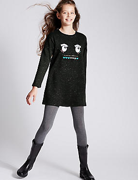 Cotton Rich Long Sleeve Sweat Dress (5-14 Years)